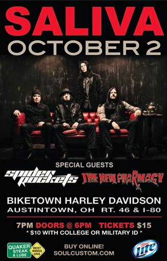 Spider Rockets - Saliva - Austintown - Ohio - promo flyer - 2013