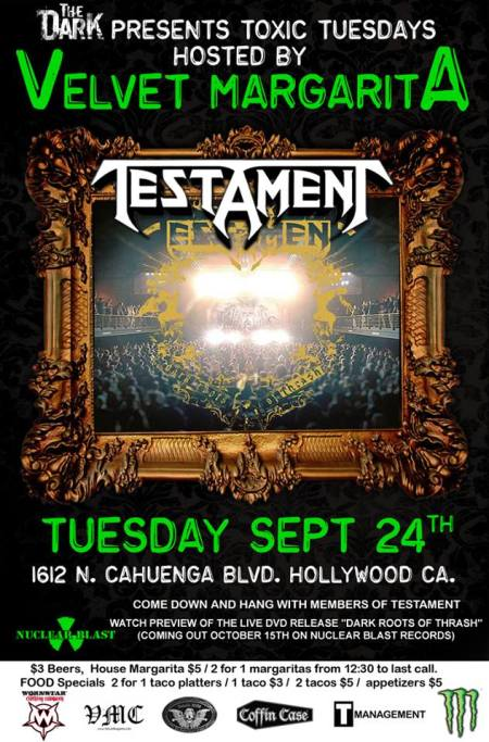 Testament - Velvet Margarita - promo flyer - Sept - 24 - 2013