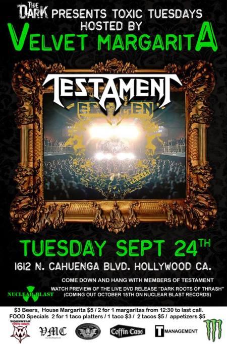 Testament - Velvet Margarita - promo flyer - Sept - 24 - 2013