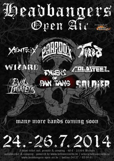 Tygers Of Pan Tang - Headbangers Open Air Festival - 2014 - promo flyer