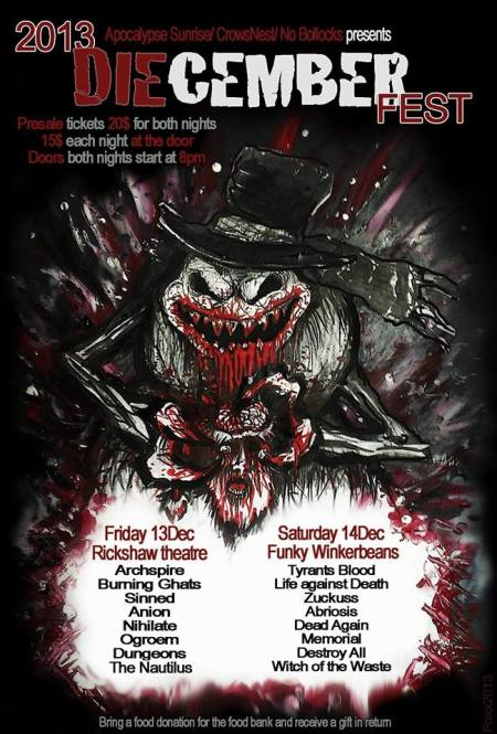 Diecember Fest - 2013 - promo flyer - tyrants blood