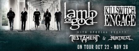 Huntress - Lamb Of God - Testament - tour promo banner - 2013