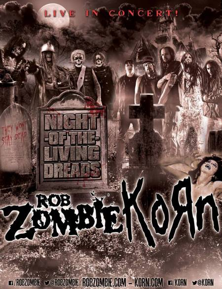 Korn - Rob Zombie - Night Of The Living Dreads - Tour Promo Flyer - 2013