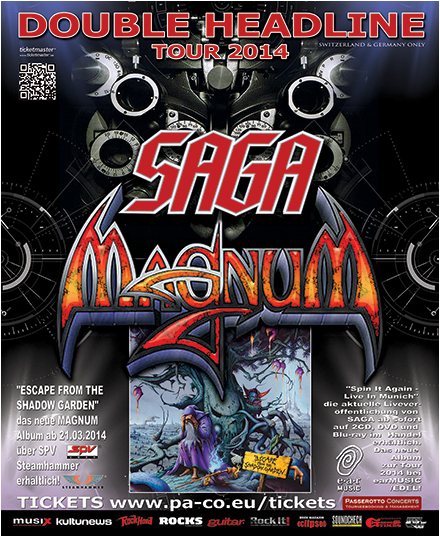 Magnum - Saga - double headline tour - 2014 - promo flyer