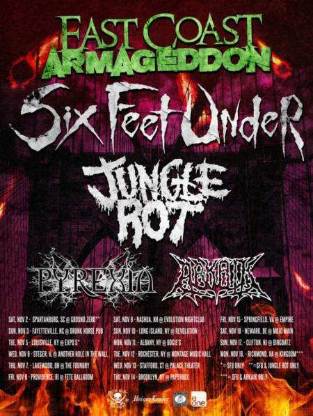 Six Feet Under - East Coast Armageddon - promo flyer - 2013