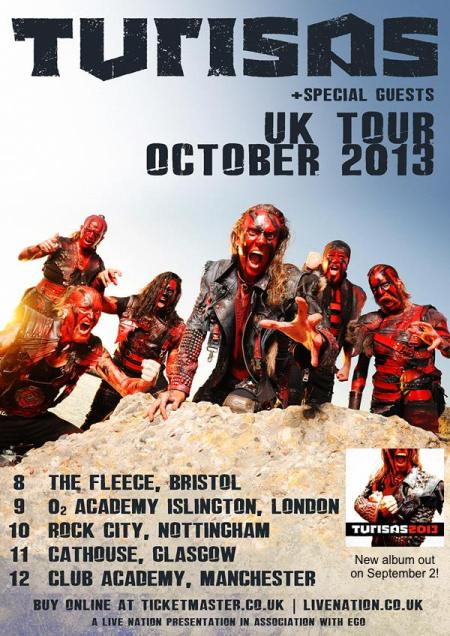 Turisas - UK - Tour - October - 2013 - promo flyer