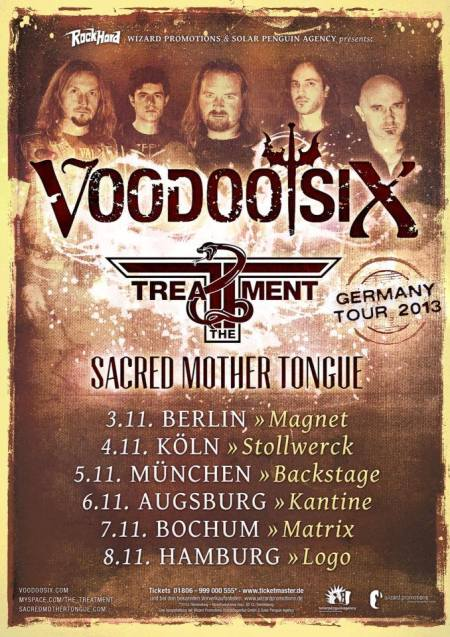 Voodoo Six - Germany Tour - promo flyer - November - 2013