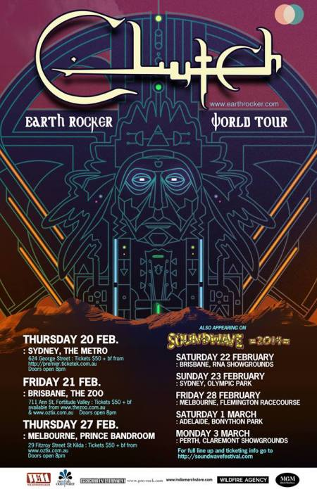 Clutch - Earth Rocker - World Tour - Australia - promo poster - 2013