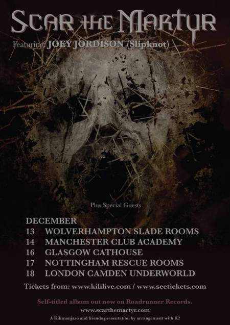 Scar The Martyr - UK Tour December - 2013 promo flyer