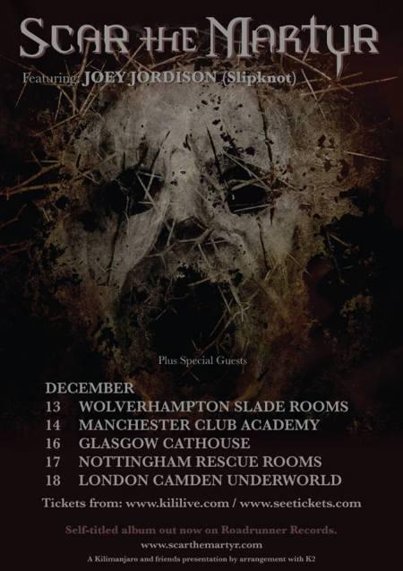 Scar The Martyr - UK Tour December - 2013 promo flyer