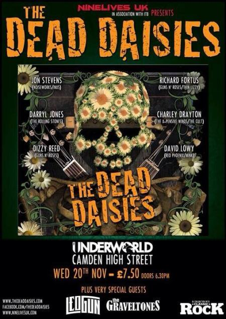 The Dead Daisies - Underworld - promo flyer - Nov 20 - 2013