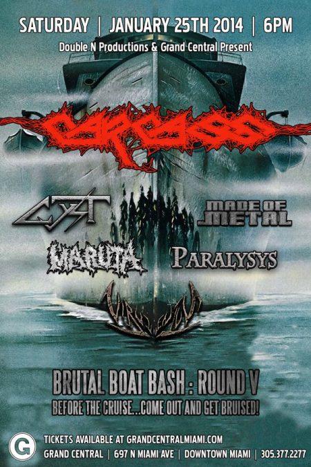 Carcass - Brutal Boat Bash - Round V - promo flyer - 2014