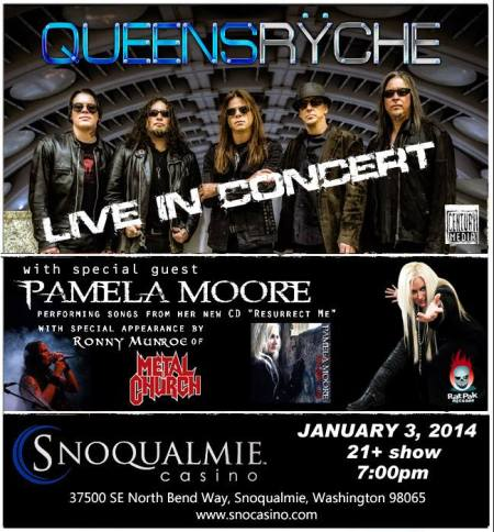 Queensryche - pamela moore - ronny munroe - concert flyer - january 3 - 2014