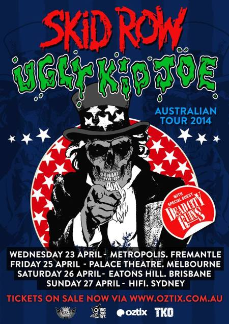 Skid Row - Ugly Kid Joe - Australian Tour 2014 - concert flyer