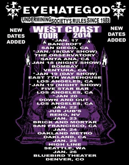 Eyehategod - west coast tour - 2014 - promo tour flyer