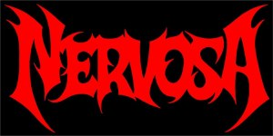 Nervosa - band logo - red on black - large - 2013
