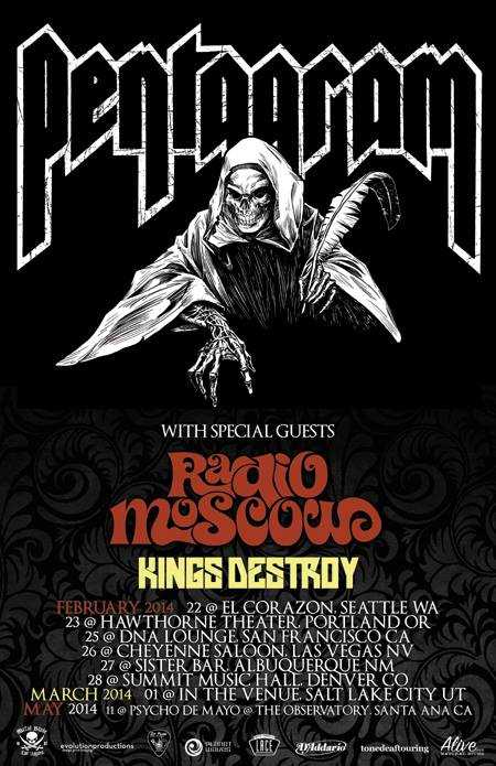 Pentagram - 2014 - tour promo flyer - Radio Moscow - Kings Destroy