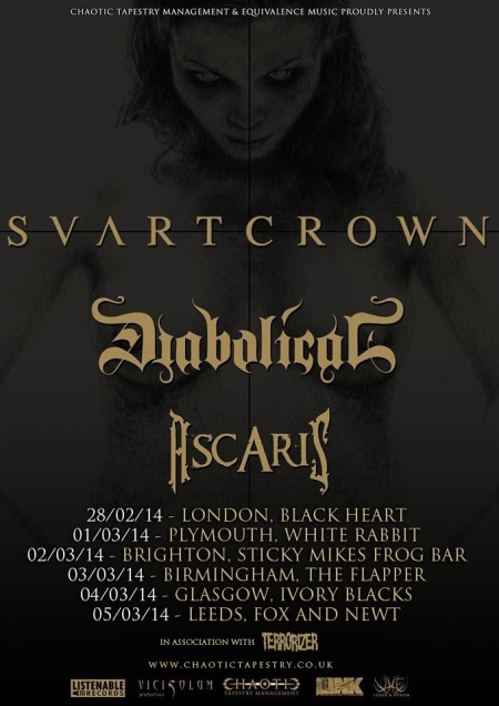 Svartcrown - Diabolical - promo tour flyer - 2014