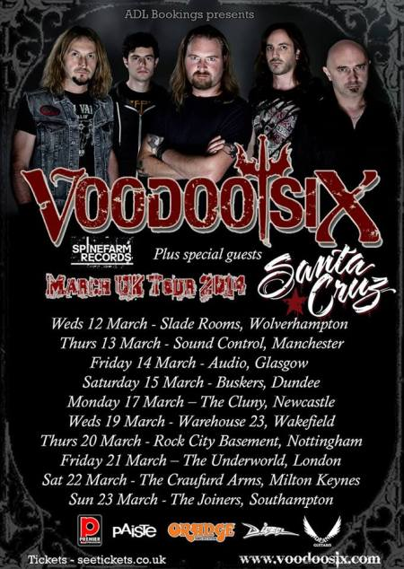 Voodoo Six - UK March 2014 Tour - promo flyer - #2