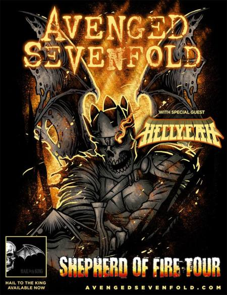 Avenged Sevenfold - Hellyeah - Shepherd of Fire Tour - promo flyer - 2014