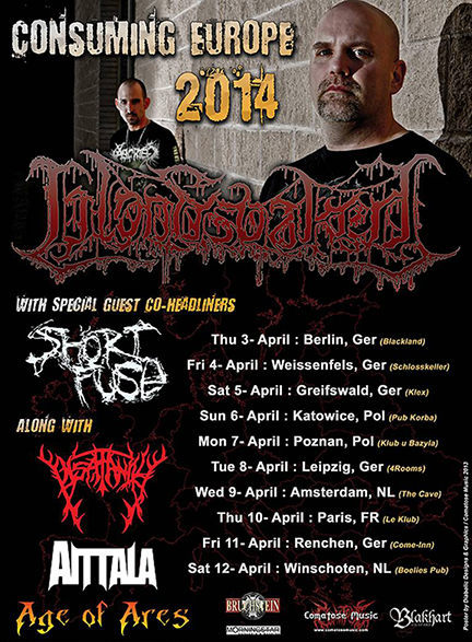 Bloodsoaked - Consuming Europe Tour - promo flyer - 2014