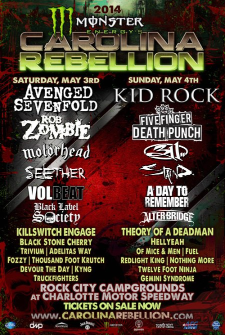 Carolina Rebellion - promo tour flyer - a7x - ffdp - 2014