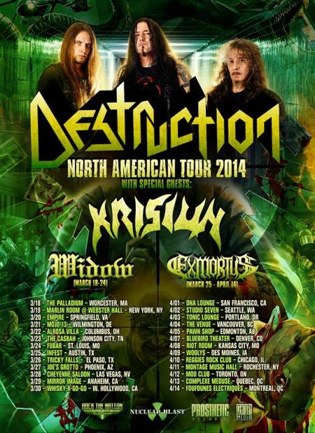 Destruction - North American Tour 2014 - promo flyer - #7310