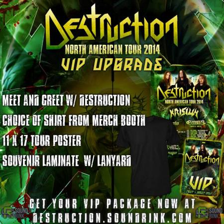 Destruction - North American Tour - VIP Upgrades - promo flyer