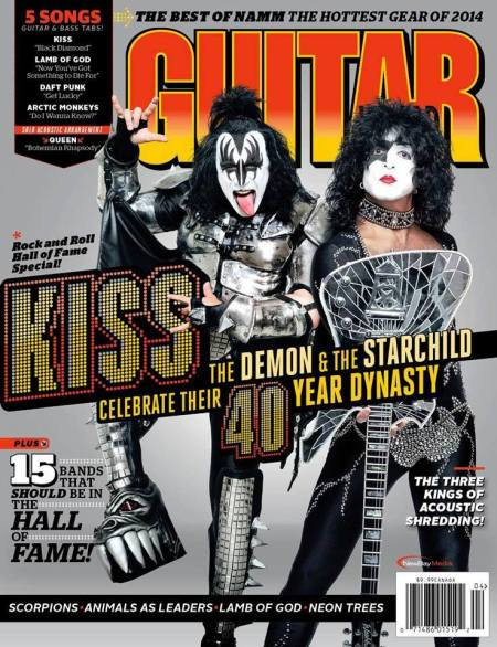 Kiss - Guitar World - promo cover pic - 2014 - Gene Simmons - Paul Stanley