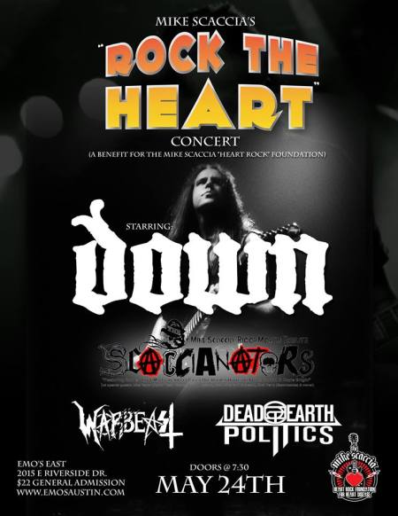 Mike Scaccia's Rock The Heart Concert - down - warbeast - May 24 - 2014 - promo flyer