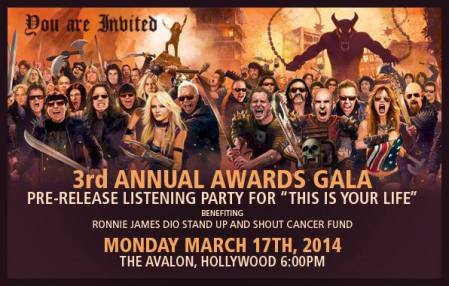 Ronnie James Dio - Stand Up And Shout Cancer Fund - 3rd Annual Awards Gala - promo flyer - 2014