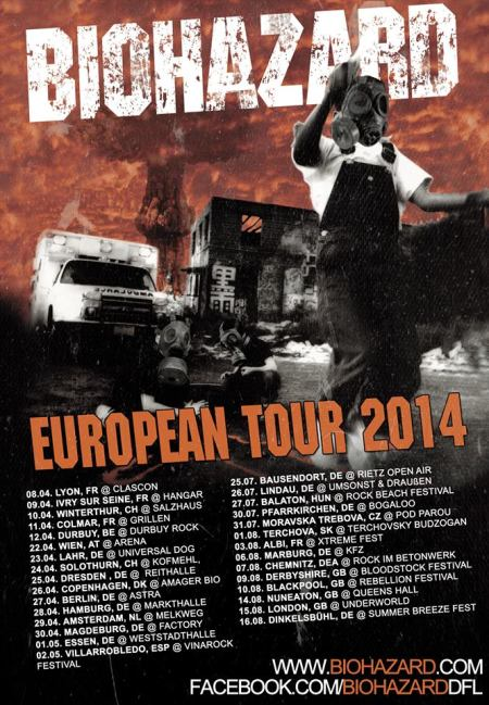 Biohazard - European Tour 2014 - promo flyer