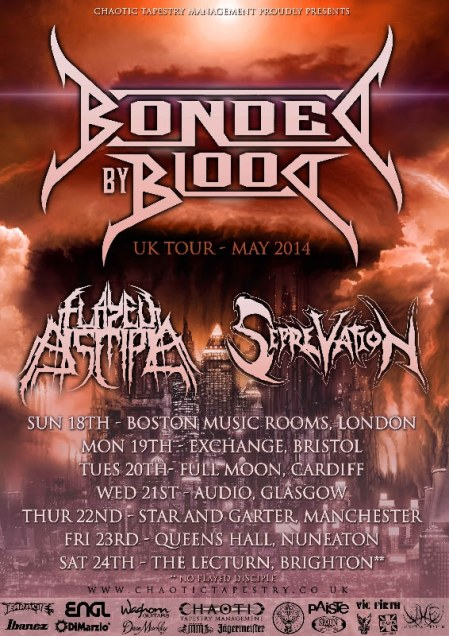 Bonded By Blood - UK Tour - May - 2014 - promo flyer