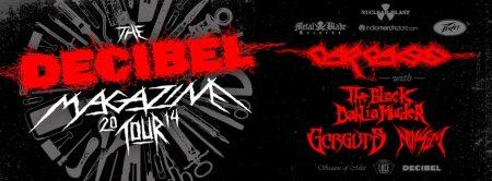 Decibel Magazine Tour - 2014 - promo banner - Carcass - Noisem - Gorguts