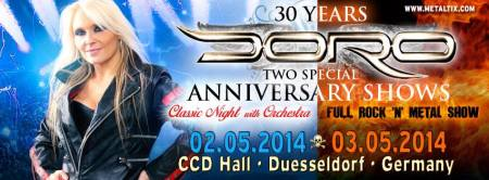 DORO - two special anniversary shows - 30 years - 2014 - promo banner