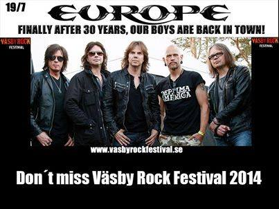 Europe - Vasby Rock Festival - 2014 - promo flyer
