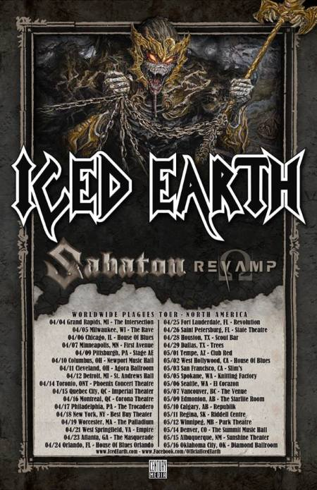 Iced Earth - North America - Worldwide Plagues Tour - 2014 - promo flyer