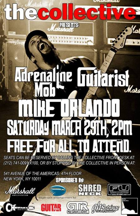 Mike Orlando - The Collective - guitar master class - promo flyer - 2014