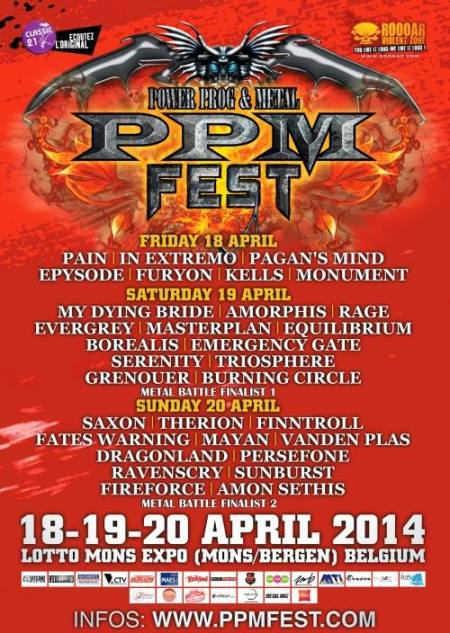 Power Prog & Metal Fest - promo flyer - 2014 - ppm - April