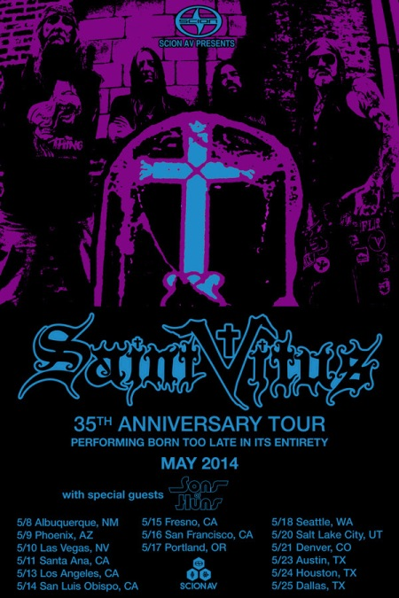 Saint Vitus - thirty fifth anniversary tour - promo flyer - 2014