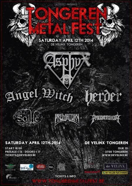 Tongeren Metal Fest - Angel Witch - Asphyx - 2014 - promo flyer