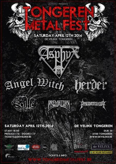 Tongeren Metal Fest - Angel Witch - Asphyx - 2014 - promo flyer