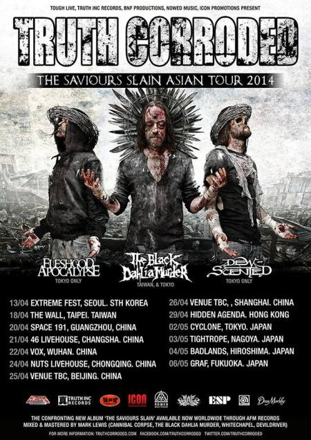 Truth Corroded - Asian Tour 2014 - promo flyer