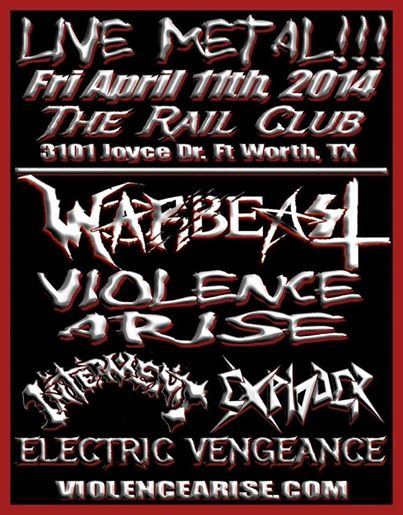 Warbeast - Live - The Rail Club - April 11 - 2014 - promo flyer