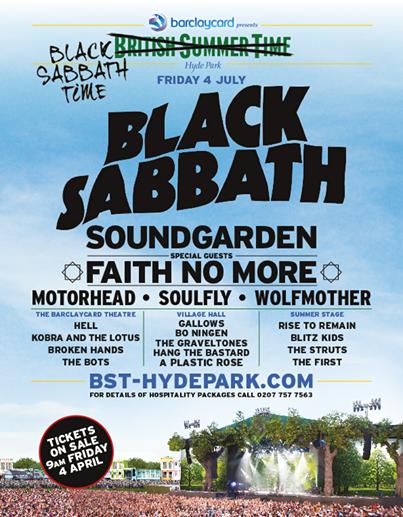 Black Sabbath - Hyde Park - 2014 - concert flyer - Soundgarden