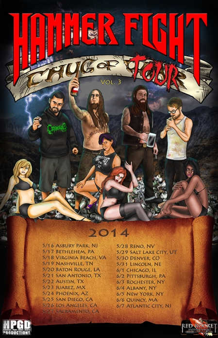 Hammer Fight - Chug Of Tour Vol. 3 - 2014 - promo tour flyer