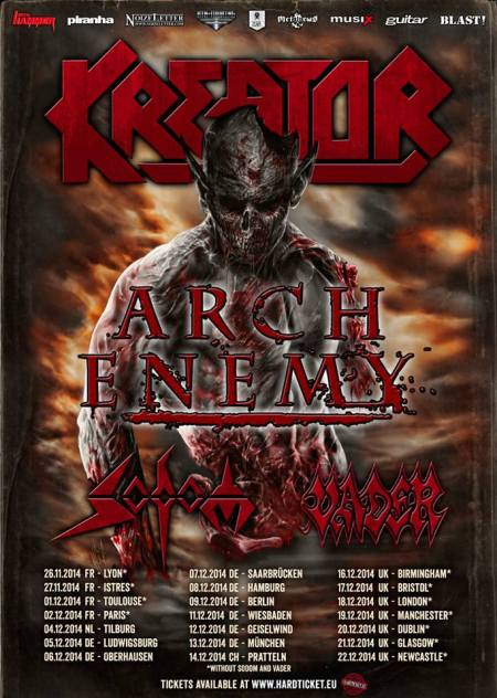 Kreator - European Tour 2014 - promo flyer