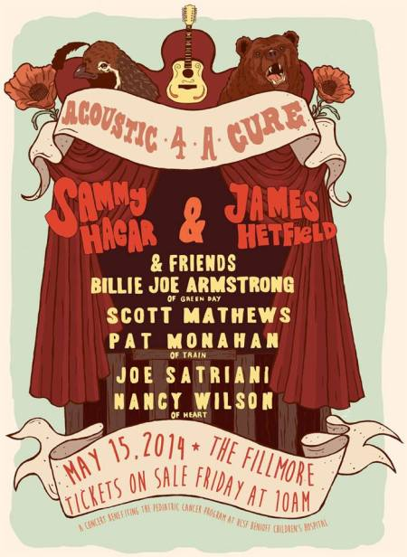 Sammy Hagar - James Hetfield - Acoustic 4 A Cure - promo flyer - 2014 - #19