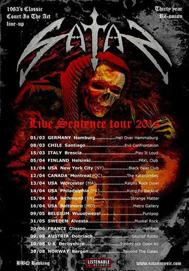 Satan - Live Sentence Tour - 2014 - promo flyer - #10001
