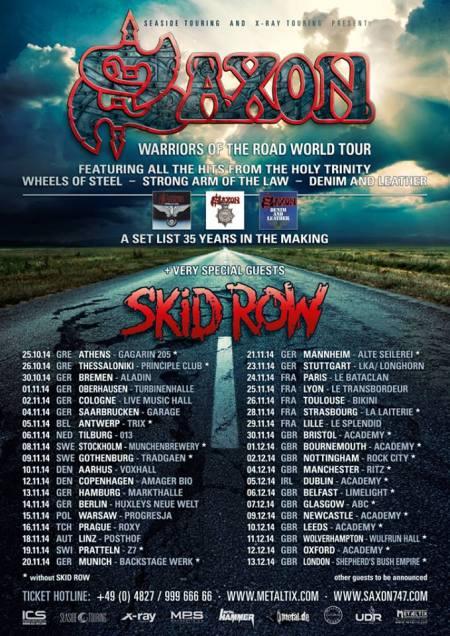 Saxon - Skid Row - Fall - Winter - 2014 European Tour - promo flyer